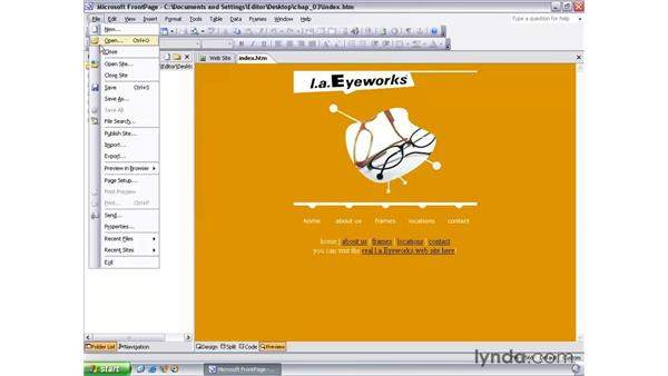 previewing in a browser: FrontPage 2003 Essential Training