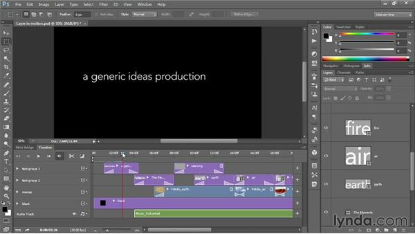 Adding soundtracks and voiceovers: Photoshop CC One-on-One: Mastery