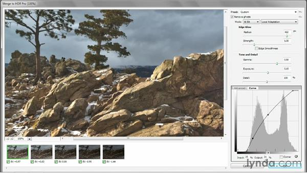 Adding a curve in HDR Pro to heighten reality: Photoshop CC One-on-One: Mastery