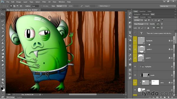 Grouping layers by name: Photoshop CC One-on-One: Mastery