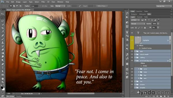 Moving many layers without upsetting comps: Photoshop CC One-on-One: Mastery
