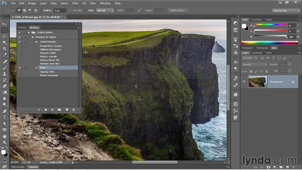 Modifying settings and playing an action: Photoshop CC One-on-One: Mastery