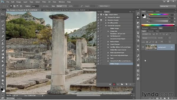 Actioning the creation of a flat CMYK image: Photoshop CC One-on-One: Mastery