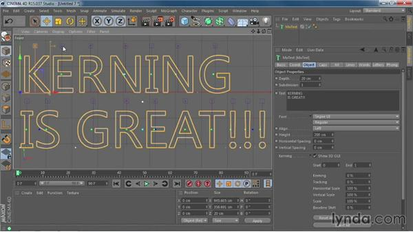 Kerning type with interactive controls: CINEMA 4D R15 New Features