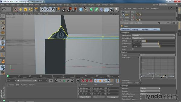 Creating custom edges with the new Bevel tool: CINEMA 4D R15 New Features