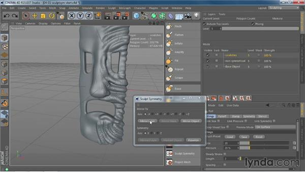 Using the Sculpt Symmetry command to mirror objects: CINEMA 4D R15 New Features