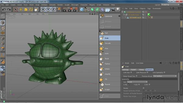 Using sculpting tools on polygons without a full sculpting tag: CINEMA 4D R15 New Features