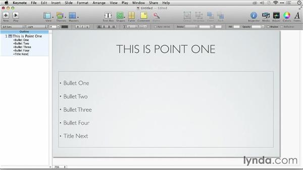 Using Keynote to create or modify an outline: Keynote: From Outline to Presentation
