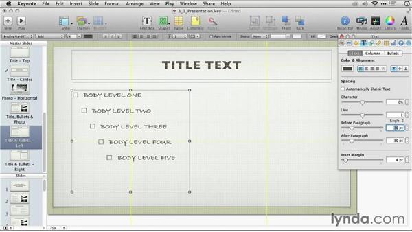 Adjusting the layout of a master slide: Keynote: From Outline to Presentation