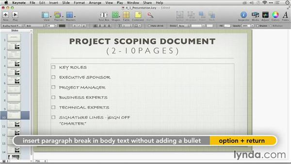 Formatting text with the format bar: Keynote: From Outline to Presentation