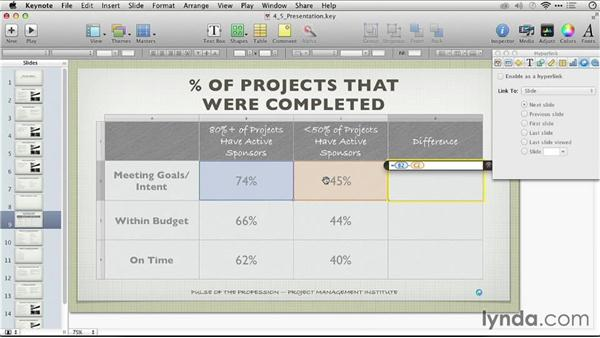 Adding formulas to a table: Keynote: From Outline to Presentation