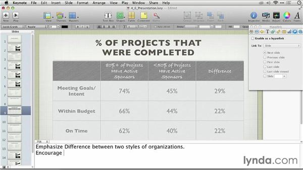 Adding presenter notes instead of more text: Keynote: From Outline to Presentation