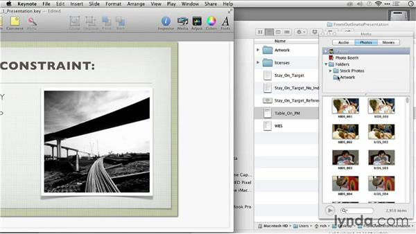 Adding a photo to a drop zone: Keynote: From Outline to Presentation