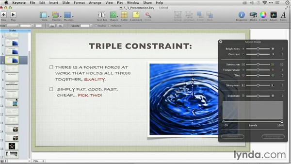 Adjusting a photo: Keynote: From Outline to Presentation