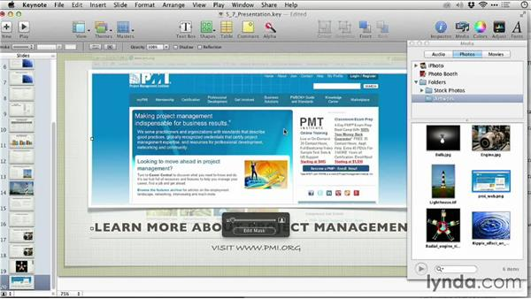 Adding a web page: Keynote: From Outline to Presentation