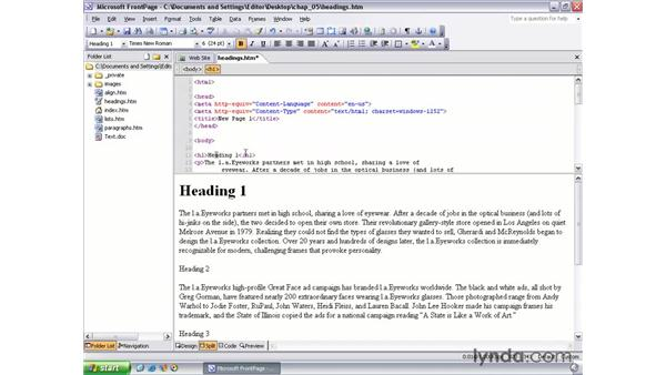 headings: FrontPage 2003 Essential Training