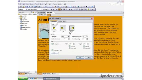 formatting paragraphs: FrontPage 2003 Essential Training