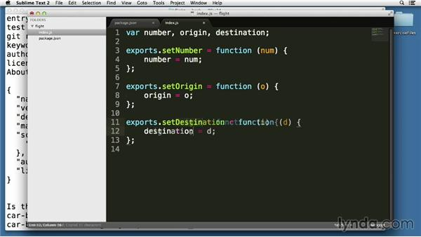 Creating modules with getters and setters: Node.js Essential Training (2013)