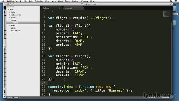 Handling GET requests returning JSON: Node.js Essential Training (2013)