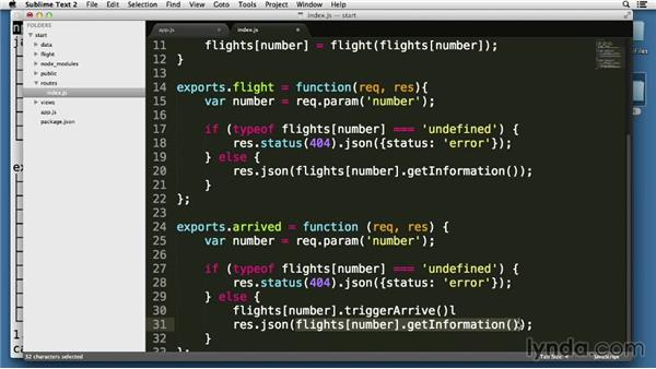 Modifying data through PUT requests: Node.js Essential Training (2013)