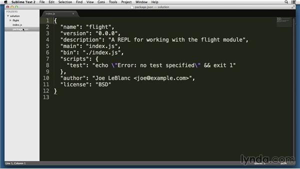 Solution: Launch a custom REPL from a command: Node.js Essential Training (2013)