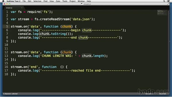 Streaming chunked data through readable streams: Node.js Essential Training (2013)