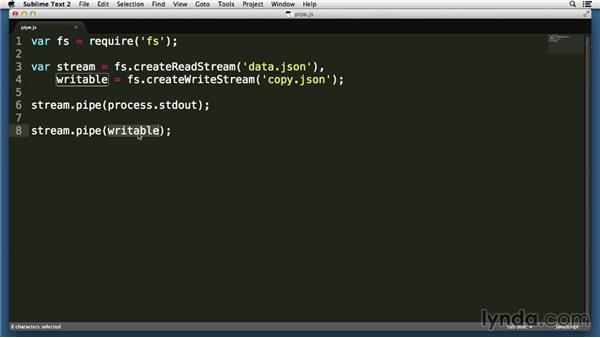 Piping readable data into writable streams: Node.js Essential Training (2013)