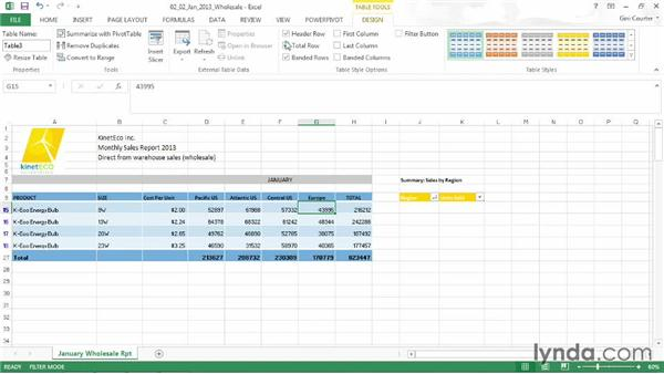 Setting table options: Data-Driven Presentations with Excel and PowerPoint