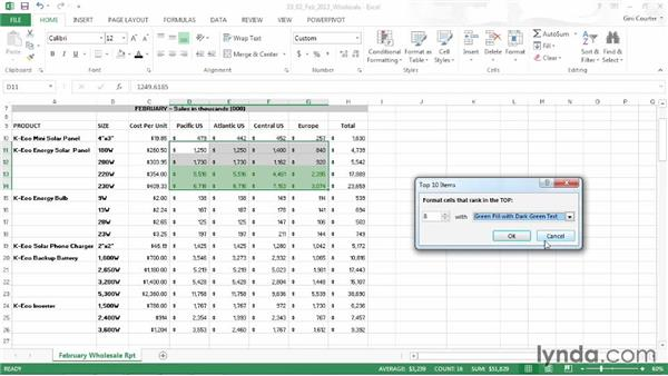 Formatting a cell based on its contents: Data-Driven Presentations with Excel and PowerPoint