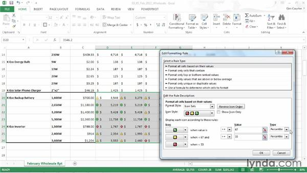 Editing a conditional format: Data-Driven Presentations with Excel and PowerPoint