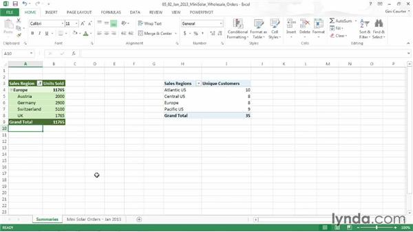 Filtering items in a PivotTable: Data-Driven Presentations with Excel and PowerPoint