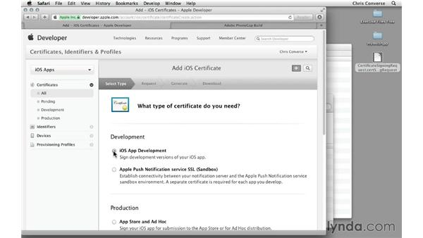 Creating and receiving a signed certificate: Creating an iPad App with HTML5 and PhoneGap Build