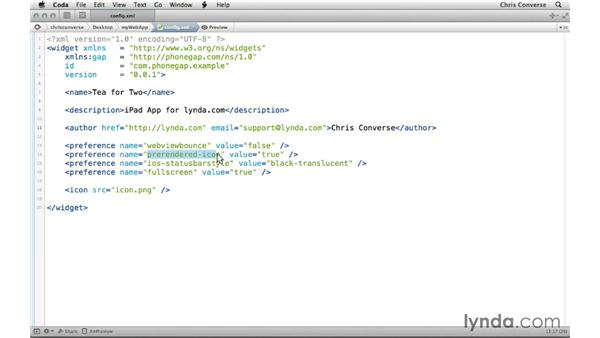 Creating a custom configuration file for your app: Creating an iPad App with HTML5 and PhoneGap Build