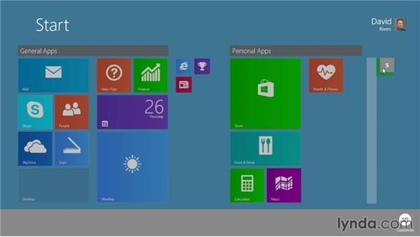 Creating tile groups: Windows 8.1 Essential Training