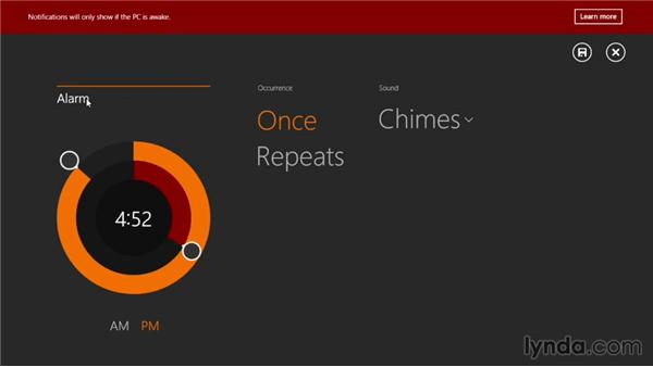 Timing things with Alarms: Windows 8.1 Essential Training