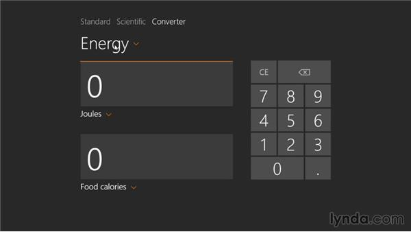 Performing calculations with the Calculator: Windows 8.1 Essential Training