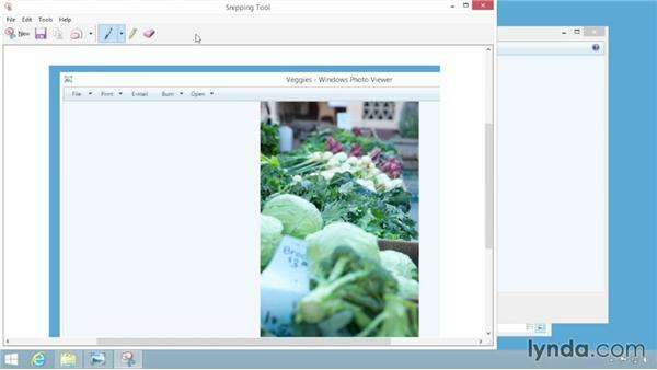 Taking screenshots with the Snipping tool: Windows 8.1 Essential Training