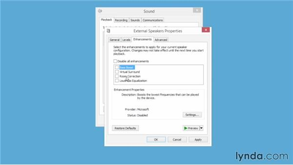 Controlling sound device volume settings: Windows 8.1 Essential Training