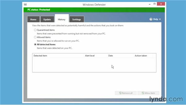 Battling malicious software with Windows Defender: Windows 8.1 Essential Training