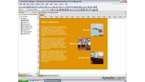 tracing pictures: FrontPage 2003 Essential Training