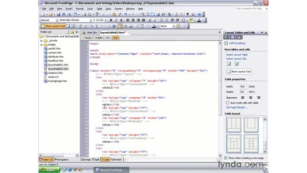 layout table templates: FrontPage 2003 Essential Training