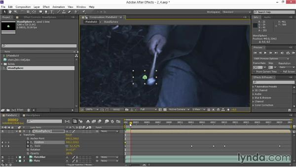 Hand tracking particles into the plate: VFX Techniques: Creating Particle Effects