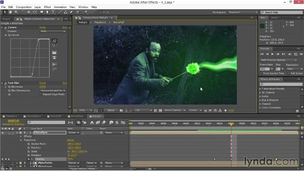 Adding a fake shadow and flare: VFX Techniques: Creating Particle Effects