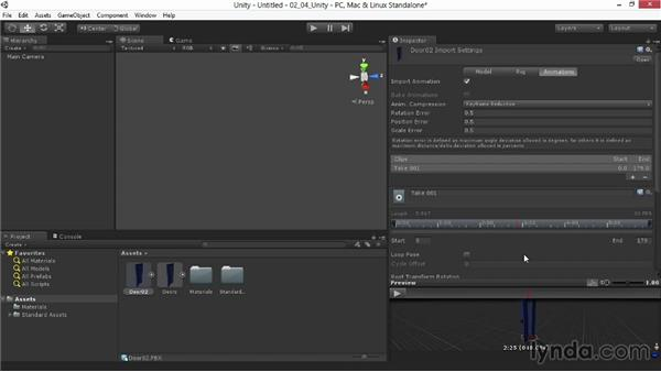 Testing the animation in Unity: Animating for Unity 3D in 3ds Max