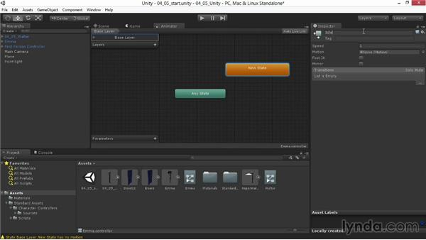 Setting states and transitions in Mecanim: Animating for Unity 3D in 3ds Max