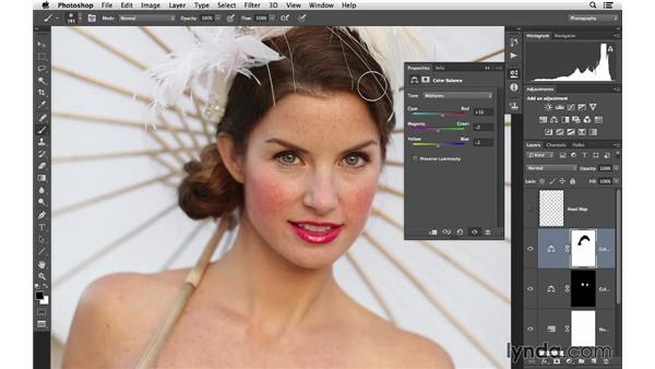 Warming up the portrait with Color Balance and masking: Retouching Bridal Portraits with Photoshop
