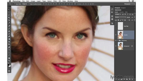 Softening skin and reducing the freckles: Retouching Bridal Portraits with Photoshop