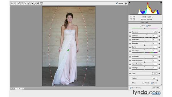 Enhancing with multiple Camera Raw Radial filter adjustments: Retouching Bridal Portraits with Photoshop