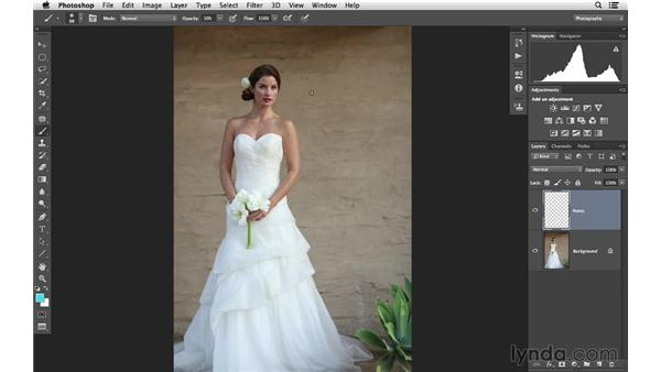 Creating a note layer for the project: Retouching Bridal Portraits with Photoshop