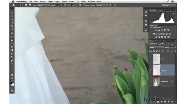 Cleaning up the background with cloning: Retouching Bridal Portraits with Photoshop